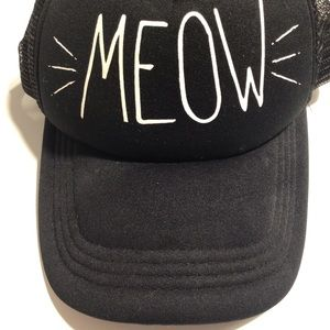 Retro SnapBack mesh ball cap meow graphic unisex